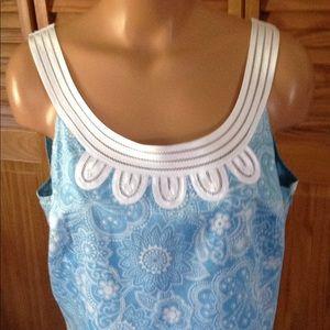 LOFT DRESS LIGHT BLUE &white sleeveless 12 shift.